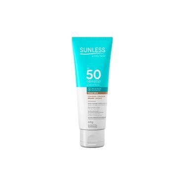 Protetor Solar Facial Sunless FPS 50 Com Base 60g - Bronze