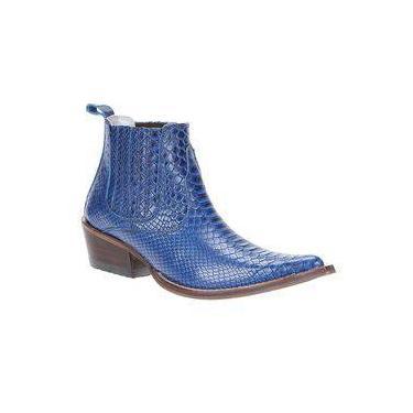 Bota Masculina Bico Fino Azul Anaconda Cow Way Cano Curto 22956