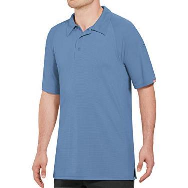 Imagem de Camisa polo masculina Red Kap Big and Tall Big & Tall Active Performance, Medium Blue, 6X-Large