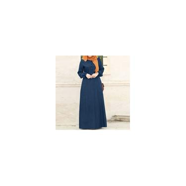 Zanzea feminino Kaftan Abaya Muslim Shirt Dress O-Neck Cuff Jeans vintage Casual Maxi Vestido Azul claro 3XL