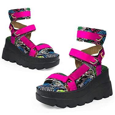 SaraIris Sandália plataforma feminina de verão, gótica, bico aberto, recortada, anabela, tiras romanas, gladiadora, vestido de festa, sandália de salto, Cobra vermelha rosa, 9