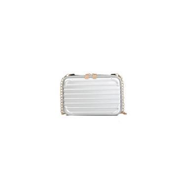 089 # Mini senhoras mala bolsa de ombro prata