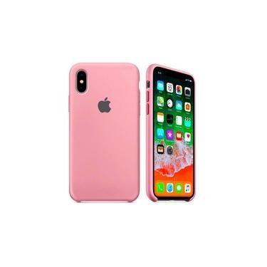 Capa Original Capinha Case para iPhone X / XS em Silicone Rosa Claro Aveludada Apple