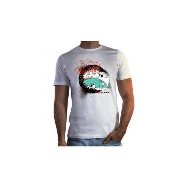 Camiseta Shutt Vintage Kombi Casual Branca Estampa Preta Laranja e Azul - M 99fc4532de6