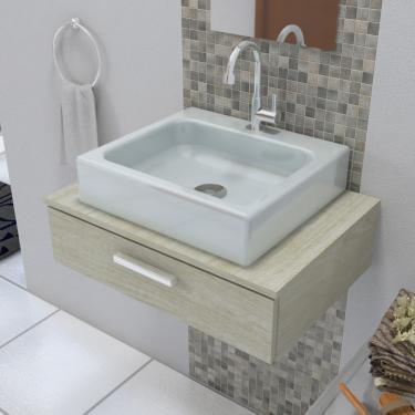 Cuba de Apoio Para Banheiro Retangular 44X40 Cm Nice Cinza