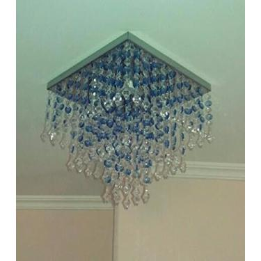 Lustre Plafon de Cristal Acrílico Mesclado Azul - Soquete GU10