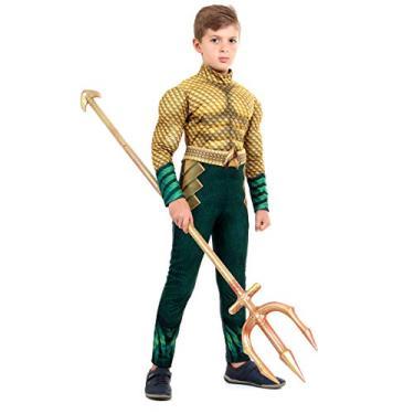 Imagem de Sulamericana Fantasias Aquaman Clássico Infantil, G 10/12 Anos, Verde/Dourado