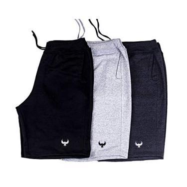 Kit Com 3 Bermudas Shorts Moletom Masculinas Casual Malhação Tamanho:44;
