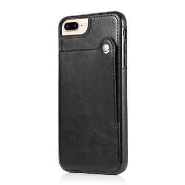 SHUNDA Capa para iPhone 7 Plus/8 Plus, carteira de couro premium com fivela magnética à prova de choque capa protetora para iPhone 7 Plus/8 Plus - Preta