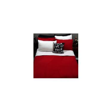 Imagem de Jogo Cama Casal King 9 Peças Tricolor Com Cobertor Vermelho