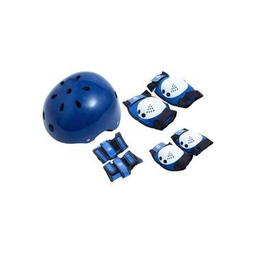 Kit Proteção com Capacete para Skate Tamanho M Bel Fix Azul