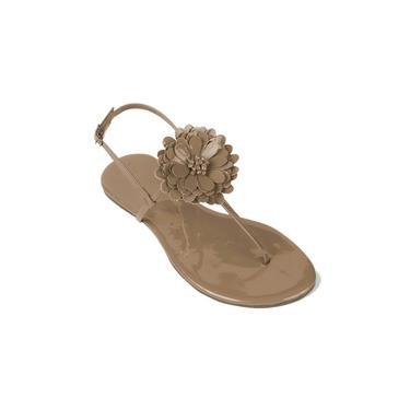 Imagem de Sandália Flat Verniz Mercedita Shoes Com Flor Areia