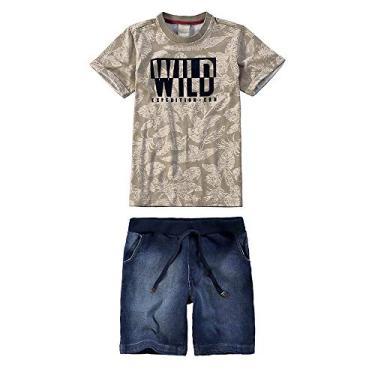 Conjunto Infantil Masculino Carinhoso Wild Cor  Marrom - Tam.  012 a4f0fdc10ac