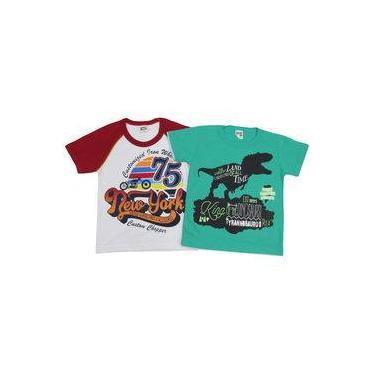 Camiseta Infantil Masculina Manga Curta Kit Com 2 Unidades Branco E Verde