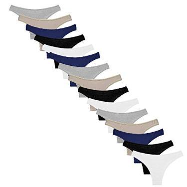 Kit com 15 Calcinhas Conforto de Algodão Modelo Tanga (Branca/Preta/Cinza/Bege/Azul, G)