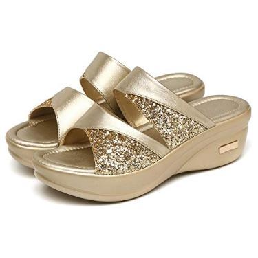 Sandálias Das Mulheres,Baugger Mulheres Desgaste do verão de moda Plataforma de fundo grosso Sapatos de salto de cunha Senhoras Sandálias de boca de peixe Chinelos (Ouro 38)