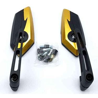 Espelho Retrovisor Universal Thunder CB300 500 / Fazer/Kawasaki/YBR 125 / Lead Pcx Custom Nmax/Dafra Smart 125 / Twister/Hornet / Xj6 Solidez Dourado escuro