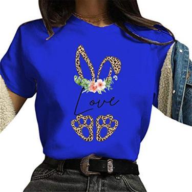 Novas camisetas femininas de coelhinho da Páscoa 2021, plus size, blusa de manga curta, gola redonda, túnicas soltas casuais de verão, Azul, M