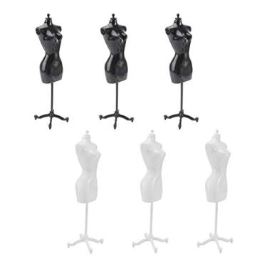 NUOBESTY 6 peças de vestido feminino com forma de vestido para exibição de vestido manequim suporte para exibição de vestido de boneca (3 peças pretas, 3 peças brancas)