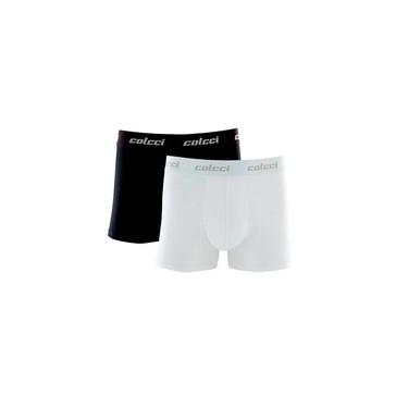 Kit com 2 Cuecas Boxer Cotton Colcci CL1.18 Preto/Branco