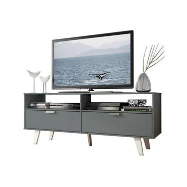 Rack para TV até 55 Polegadas Madesa Oslo com 2 Portas - Cinza