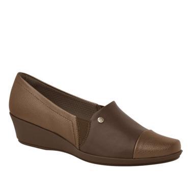 Sapato Anabela Médio Bronze/Madeira