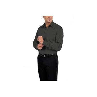 Camisa Social Manga Longa 100% Microfibra Masculina Chumbo Grafite Cinza Escuro Lisa Bom Pano