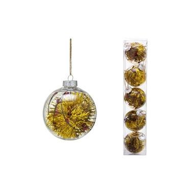 Conjunto 5 Bolas Decoradas para Árvore 8cm Transparente com Festão Dourado Espressione Christmas