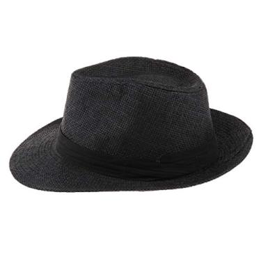 oshhni Chapéu Panamá de palha masculino e feminino Fedora Trilby Chapéu de sol Sombrero aba larga, Preto, as described