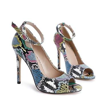 Sandália feminina listrada floral stiletto peep toe leopardo cobra tira no tornozelo salto alto D'Orsay, 1-blue Snake, 11