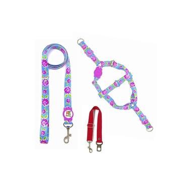 Kit Peitoral, Guia e Cinto de Segurança para Cachorros - Tamanho Pequeno - Modelo Flores