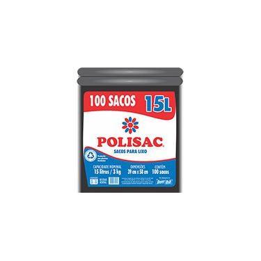 Saco para lixo 15lt preto reciclado Polisac 140020925 Dover PT 100 UN