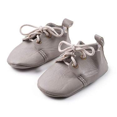 "Sapato social para bebês e meninos da Silky Toes, Oxford - Stone, Size 3 - up to 4.75"""