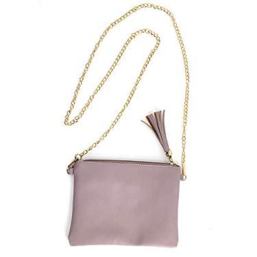 Bolsa feminina de couro com zíper à prova d'água para cosméticos, bolsa de maquiagem, bolsa de borla com corrente dourada, Violeta, Medium