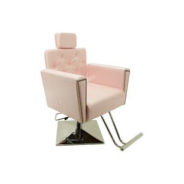 Imagem de Poltrona Cadeira Sofia Reclinavel Hidraulica Cabeleireiro e Salão de Beleza - Base Quadrada - Cor: Rosa Cristal