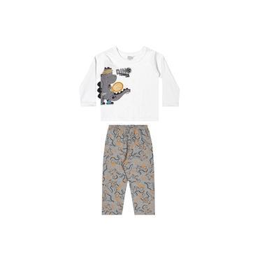 Pijama Infantil Dinossauro Cinza Elian Cinza P