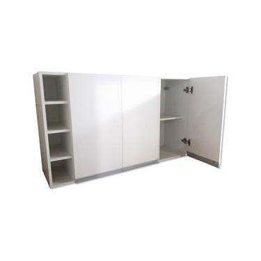 Armário Aéreo Suspenso Triplo Adega Cozinha Escritório Lavanderia Decoração Puxadores 100 % Mdf Móveis Mariano
