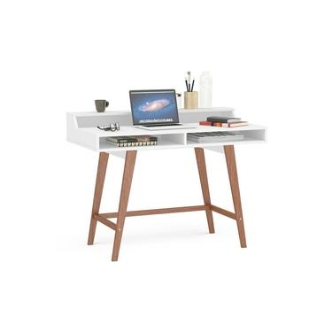 Mesa Para Computador Escrivaninha 4 Nichos Hannover Branco - Politorno
