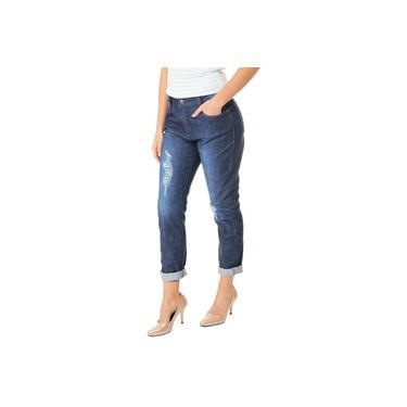 Calça Jeans Feminina F+ Boyfriend Distressed