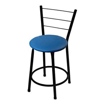Banqueta Baixa Itália Preta C/Assento Azul Ideal P/Bar Restaurante Cozinha