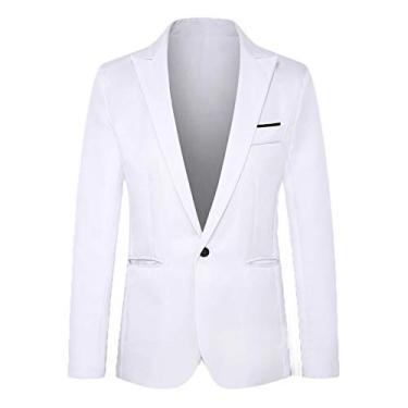 Blazer esportivo masculino Abetteric executivo formal com um botão e lapela, Branco, US X-L=China 2XL