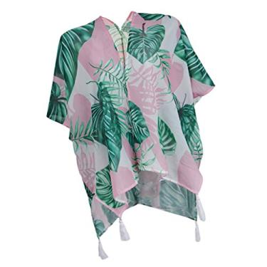 menolana Casaco Lady Tropical Leaf Kimono Chiffon Cover Up Tops Camiseta Moda Praia - L