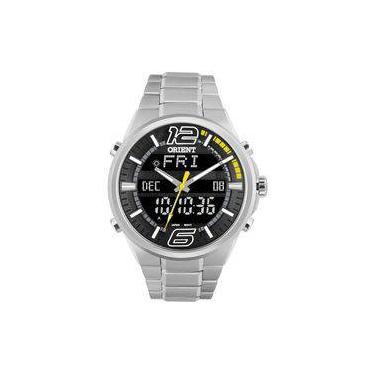 d88ea6d48be Relógio Orient Masculino Anadigi Mbssa047 Pysx Negativo Aço