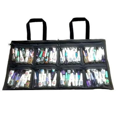 Bolsa para esmaltes maquiagens manicure cor preta até 120 frascos
