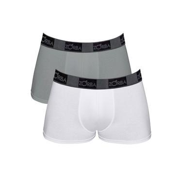 Kit Com 02 Cuecas masculinas Boxer Zorba Plus 717 Branco/Grafite