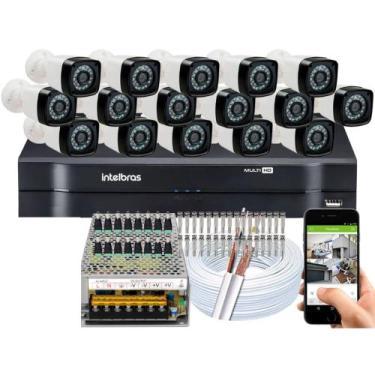 Imagem de Kit Cftv 16 Cameras Segurança Hd Infravermelho Dvr Intelbras 1116 S/ H