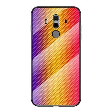 """Capa Grandcase para Huawei Mate 10 Pro, capa traseira de vidro temperado ultrafina com textura de fibra de carbono avançada resistente a arranhões para Huawei Mate 10 Pro 6,0"""" - Ouro"""