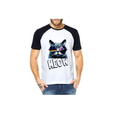 Camiseta Raglan Criativa Urbana Cachorro Gato Meow