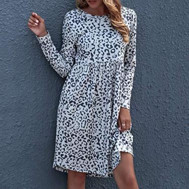 Leeofty Vestido feminino estampado de leopardo manga longa cintura alta O pescoço vestido casual