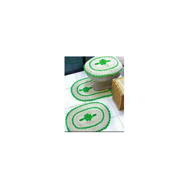 Imagem de Jogo De Banheiro 3 Pcs Bordado Em Crochê Verde
